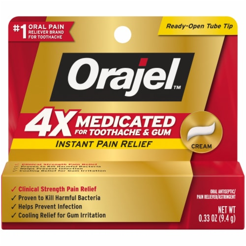 Orajel 4x Medicated Toothache & Gum Instant Pain Relief Cream Perspective: front