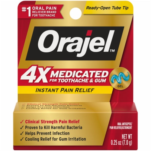 Orajel™ 4x Medicated Toothache & Gum Instant Pain Relief Gel Perspective: front