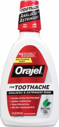 Orajel Double Medicated Soothing Mint Toothache Analgesic & Astringent Rinse Perspective: front