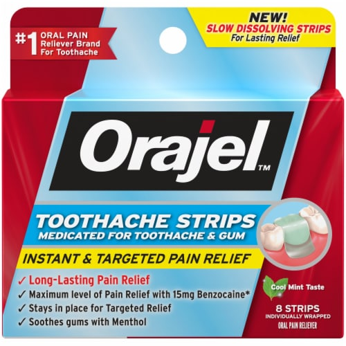 Orajel Cool Mint Taste Toothache Strips 8 Count Perspective: front