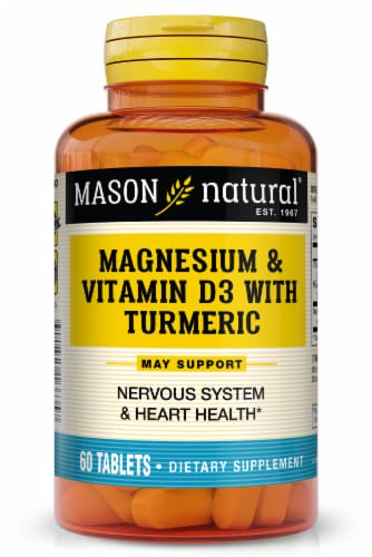 Mason Natural® Magnesium & D3 with Turmeric Tablets Perspective: front