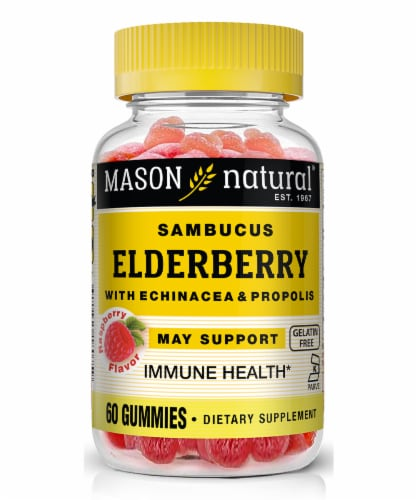 Mason Natural Raspberry Flavor Sambucus Elderberry Supplement Gummies Perspective: front