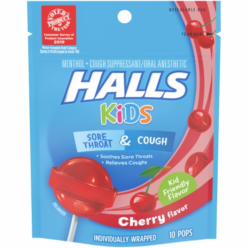 HALLS Kids Cherry Flavor Sore Throat & Cough Suppressant Menthol Pops Perspective: front