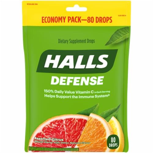 HALLS Defense Assorted Citrus Flavored Vitamin C Dietary Supplement Drops Perspective: front