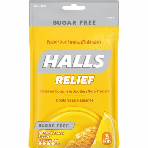 HALLS Relief Sugar Free Honey Lemon Flavor Cough Suppressant Drops Perspective: front
