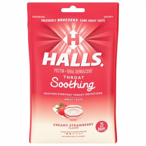 HALLS Breezers Creamy Strawberry Flavor Pectin Drops Perspective: front