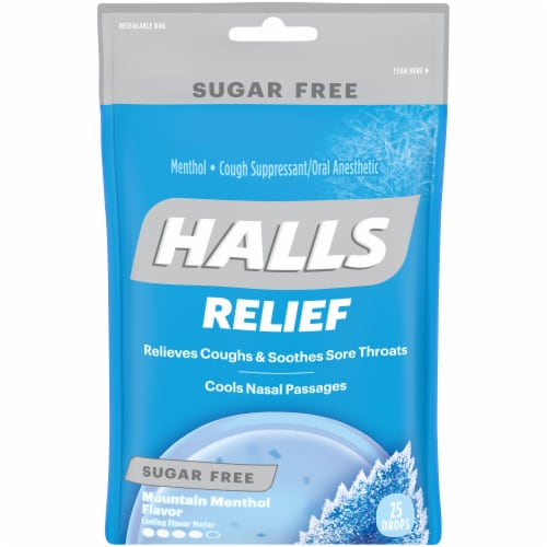 HALLS Relief Sugar Free Mountain Menthol Flavor Cough Suppressant Drops Perspective: front