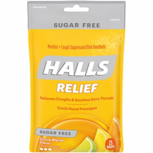Halls Sugar Free Citrus Blend Flavored Cough Suppressant Drops Perspective: front