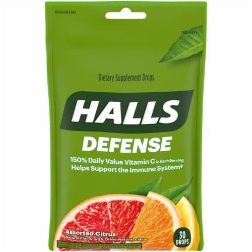 HALLS Defense Assorted Citrus Flavor Vitamin C Dietary Supplement Drops 30 Count Perspective: front