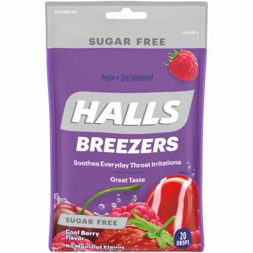 HALLS Breezers Sugar Free Cool Berry Flavor Cough Drops Perspective: front