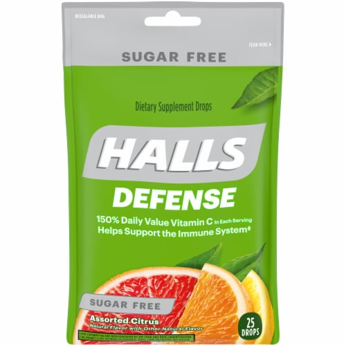 HALLS Defense Sugar Free Assorted Citrus Flavor Vitamin C Dietary Supplement Drops 25 Count Perspective: front