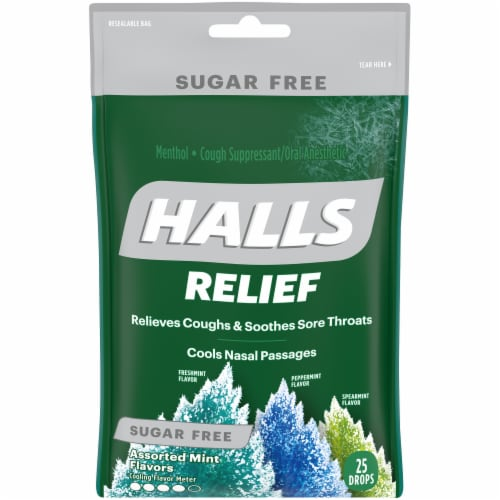 HALLS Relief Sugar Free Assorted Mint Flavor Cough Suppressant Drops Perspective: front