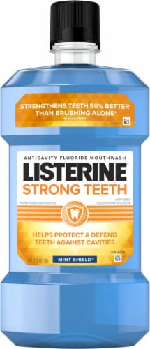 Listerine Strong Teeth Mint Shield Anticavity Fluoride Mouthwash Perspective: front