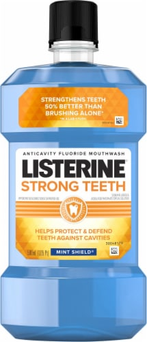 Listerine Strong Teeth Mint Shield Anticavity Mouthwash Perspective: front