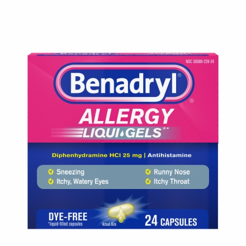 Benadryl Allergy Dye-Free Liqui-Gels Dye-Free Capsules 25mg 24 Count Perspective: front