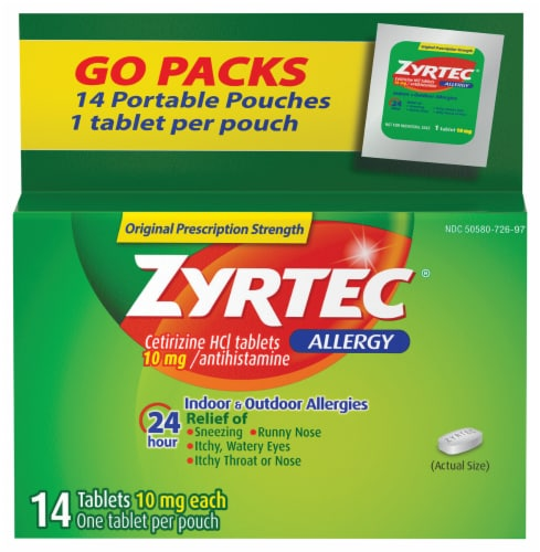 Zyrtec 24-Hour Allergy Relief Tablets 10mg Perspective: front