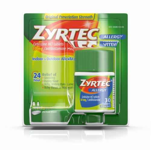 Zyrtec 24-Hour Allergy Relief 10mg Tablets Perspective: front