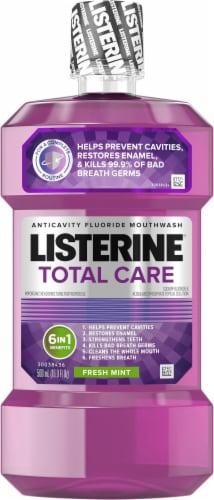 Listerine Total Care 6 in 1 Fresh Mint Flouride  Mouthwash Bottle Perspective: front