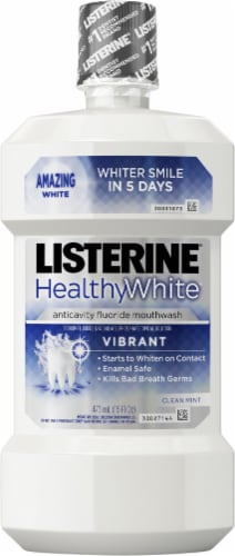 Listerine Whitening Vibrant Clean Mint Anticavity Mouthwash Perspective: front