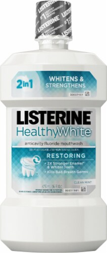 Listerine Healthy White Clean Mint Restoring Anticavity Fluoride Mouthwash Perspective: front