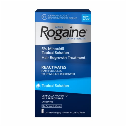 Rogaine Men's Extra Strength 5% Minoxidil Unscented Topical Hair Growth Solution Perspective: front