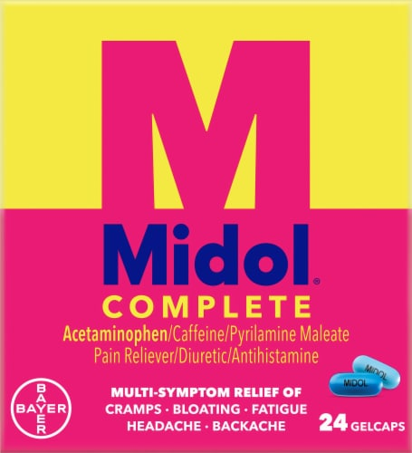 Midol Complete Menstrual Pain Relief Gelcaps Perspective: front