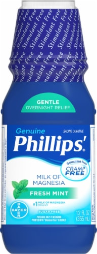 Phillips Fresh Mint Milk of Magnesia Liquid Laxative Bottle Perspective: front