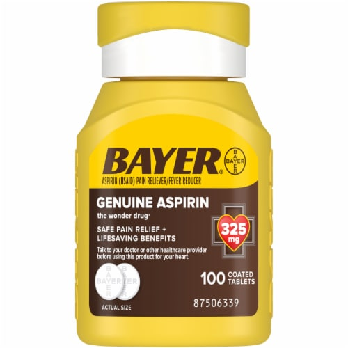 Bayer Genuine Aspirin Pain Reliever/Fever Reducer Tablets 325mg Perspective: front