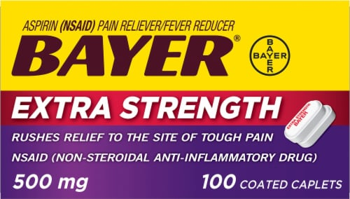 Bayer Extra Strength Aspirin Pain Reliever Coated Caplets 500mg Perspective: front