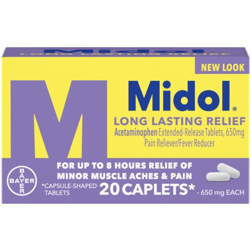 Midol Long Lasting Relief Acetaminophen Extended Release Tablets 20 Count Perspective: front