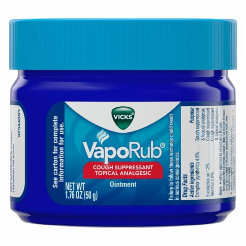 Vicks VapoRub Cough Suppressant Topical Analgesic Ointment Perspective: front