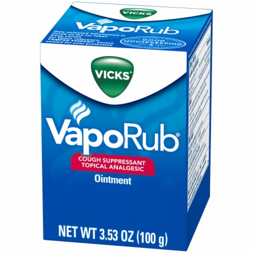 Vicks VapoRub Original Cough Suppressant Multi-symptom Relief Topical Analgesic Ointment Perspective: front