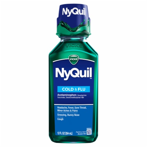 Vicks NyQuil Cold and Flu Multi-symtom Relief Nighttime Medicine Original Flavor Liquid Perspective: front