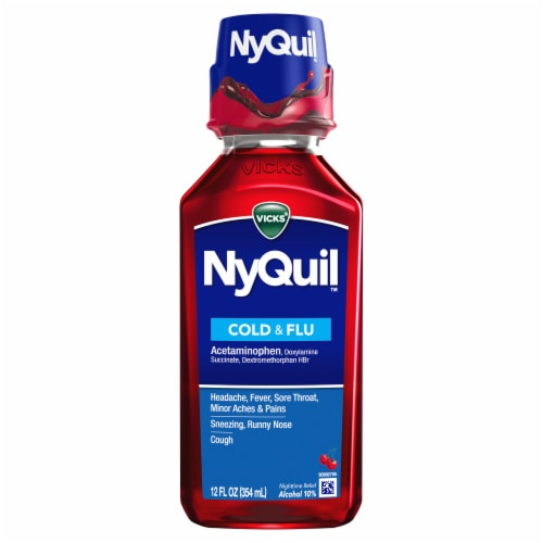 Vicks NyQuil Cold & Flu Multi-symptom Relief Medicine Cherry Flavor Liquid Perspective: front