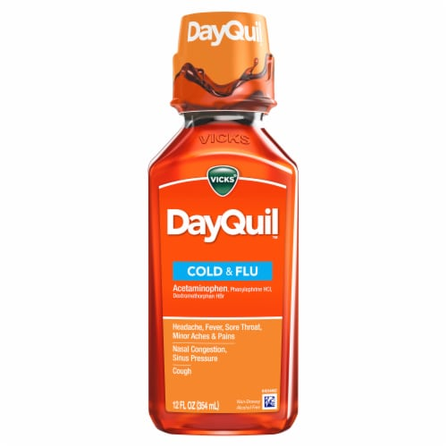 Vicks DayQuil Non-Drowsy Cold & Flu Multi-Symptom Relief Liquid Perspective: front