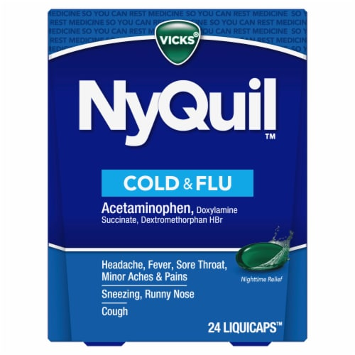Vicks NyQuil Cold Flu and Congestion Nighttime Multi-Symptom Relief LiquiCaps Perspective: front
