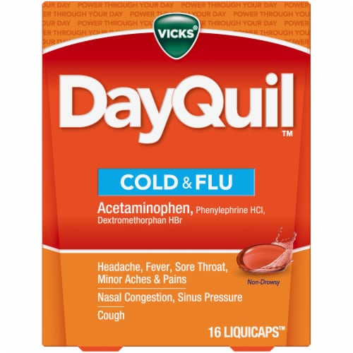Vicks DayQuil Cold & Flu Multi-symptom Daytime Relief Medicine LiquiCaps Perspective: front