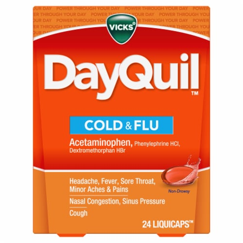 Vicks DayQuil Non-Drowsy Cold & Flu Multi-Symptom Relief LiquiCaps Perspective: front