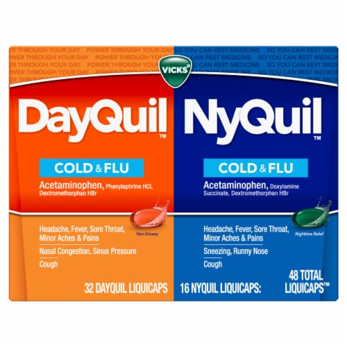 Vicks DayQuil and NyQuil Cold Flu and Congestion Multi-symptom Relief Medicine LiquiCaps Perspective: front