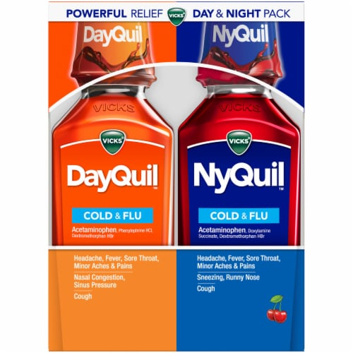 Vicks DayQuil and NyQuil Cherry Cold Flu and Congestion Multi-symptom Day/Night Medicine Perspective: front