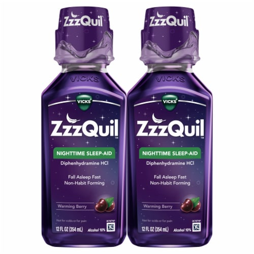 Vicks ZzzQuil Warming Berry Flavor Nighttime Sleep-Aid Liquid Perspective: front