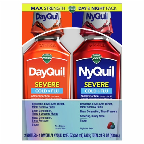 Vicks DayQuil and NyQuil SEVERE Cold Flu and Congestion Multi-symptom Relief Medicine Liquid Perspective: front