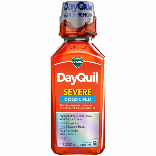 Vicks DayQuil SEVERE Cold and Flu Multi-symptom Relief Medicine Maximum Strength Liquid Perspective: front