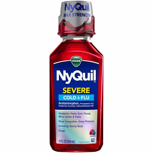 Vicks NyQuil SEVERE Cold Flu and Congestion Multi-symptom Relief Max Strength Berry Flavor Liquid Perspective: front
