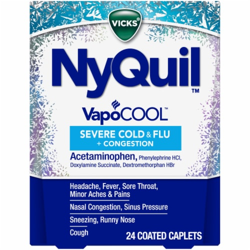 Vicks NyQuil VapoCOOL Severe Cold & Flu Nighttime Relief Coated Caplets Perspective: front
