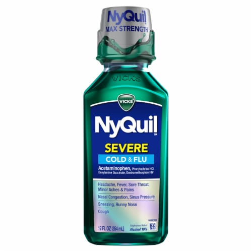 Vicks NyQuil SEVERE Cold Flu & Congestion Nighttime Medicine Original Flavor Maximum Liquid Perspective: front