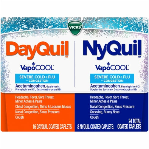 Vicks DayQuil & NyQuil Severe VapoCOOL Cold & Flu Coated Caplets Perspective: front