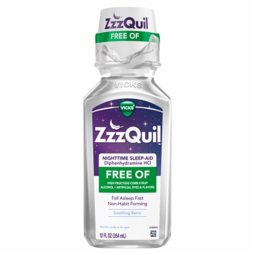 Vicks ZzzQuil Soothing Berry Nighttime Sleep-Aid Perspective: front