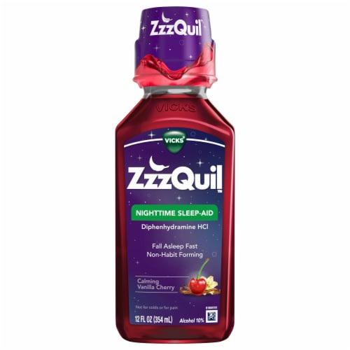 Vicks ZzzQuil Calming Vanilla Cherry Nighttime Sleep-Aid Liquid Perspective: front