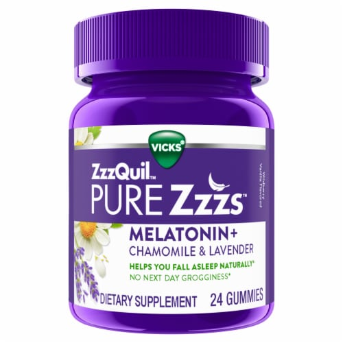 Vicks ZzzQuil Pure Zzzs Melatonin + Chamomile & Lavender Sleep Aid Gummies 1mg Perspective: front
